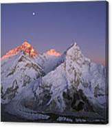 Moon Over Mount Everest Summit Canvas Print
