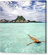Moorea Woman Floating Canvas Print