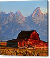 Mormon Row And The Grand Tetons  Canvas Print