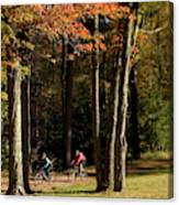 Mountain Bikers Ride In New Gloucester Canvas Print