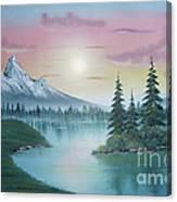 Mountain Lake Painting A La Bob Ross 1 Canvas Print