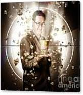 Movie Man Holding Cinema Popcorn Bucket At Film Canvas Print