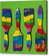Multicolored Paint Brushes On Green Background Canvas Print