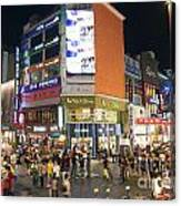 Myeongdong Shopping Street In Seoul South Korea Canvas Print