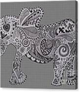 Nelly The Elephant Grey Canvas Print