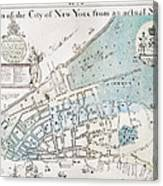 New York City Map, 1728 Canvas Print