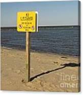 No Lifeguard Sign At Sandy Point Canvas Print