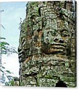 North Gate Of Angkor Thom In Angkor Wat Archeological Park-cambodia Canvas Print