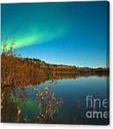 Northern Lights And Fall Colors At Calm Lake Canvas Print