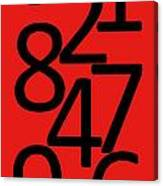 Numbers In Red And Black Canvas Print