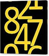 Numbers In Yellow And Black Canvas Print