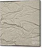 Ocean Sand Art Hearts Left Side Canvas Print