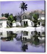 Oil Painting - Cottages And Lagoon Water Canvas Print