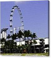 Oil Painting - Preparation Of Formula One Race With Singapore Flyer And Marina Bay Sands Canvas Print