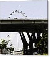 Oil Painting - Span Of The Benjamin Sheares Bridge With Its Pillars In Singapor Canvas Print