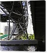 Oil Painting - View Under The Bayfront Bridge And Helix Bridge In Singapore Canvas Print