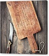 Old Cutting Board And Knife Canvas Print