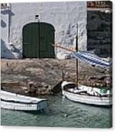 Typical Mediterranean Fishermen Boat And House In Minorca Island - Old Fishermen Villa Canvas Print