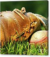Old Glove And Baseball Canvas Print