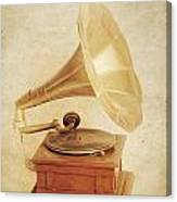 Old Vintage Gold Gramophone Photo. Classical Sound Canvas Print