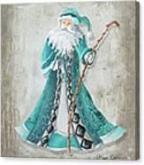 Old World Style Turquoise Aqua Teal Santa Claus Christmas Art By Megan Duncanson Canvas Print