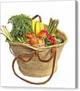 Organic Fruit And Vegetables In Shopping Bag Canvas Print