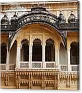 Ornate Balcony At Meherangarh Fort At Jodhpur In India Canvas Print