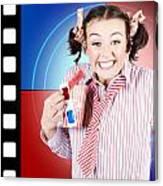Overjoyed Nerd Woman At 3d Movie Premier Canvas Print