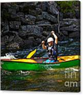 Paddler In A Whitewater Canoe Canvas Print