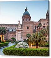 Palermo Cathedral At Dusk, Sicily Italy Canvas Print