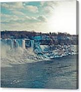 Panorama - Niagara Falls In Winter Canvas Print