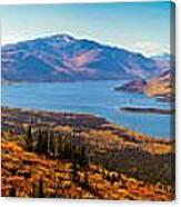 Panorama Of Fish Lake Yukon Territory Canada Canvas Print