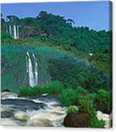 Panoramic View Of Iguazu Waterfalls Canvas Print