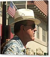 Parade Watcher Flag In Hat July 4th Prescott Arizona 2002 Canvas Print
