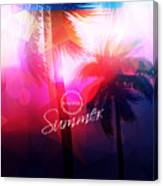 Paradise Island-palm Tree Sunset Canvas Print