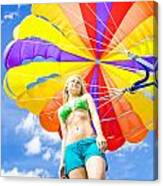 Parasailing On Summer Vacation Canvas Print