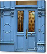 Paris Blue Door - Blue Aqua Romantic Doors Of Paris  - Parisian Doors And Architecture Canvas Print