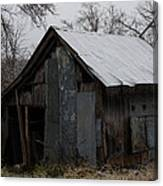 Patchwork Barn With Icicles Canvas Print