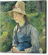 Peasant Girl With A Straw Hat Canvas Print