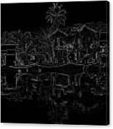 Pencil - View Of The Cottages And Lagoon Water Canvas Print