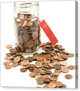 Pennies And Jar On White Background Canvas Print