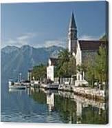 Perast Village On Kotor Bay Montenegro  Canvas Print