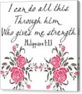 Philippians 4 13 Canvas Print