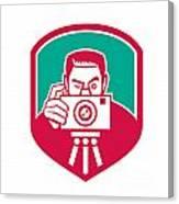 Photographer Shooting Camera Shield Retro Canvas Print