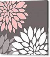 Pink Grey White Peony Flowers Canvas Print
