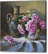 Pink Roses In Silver Canvas Print