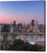 Pittsburgh Skyline At Sunset Canvas Print
