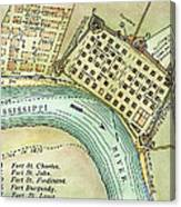 Plan Of New Orleans, 1798 Canvas Print