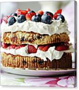 Plate Of Fruit And Cream Cake Canvas Print