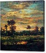 Pond At The Edge Of A Wood Canvas Print